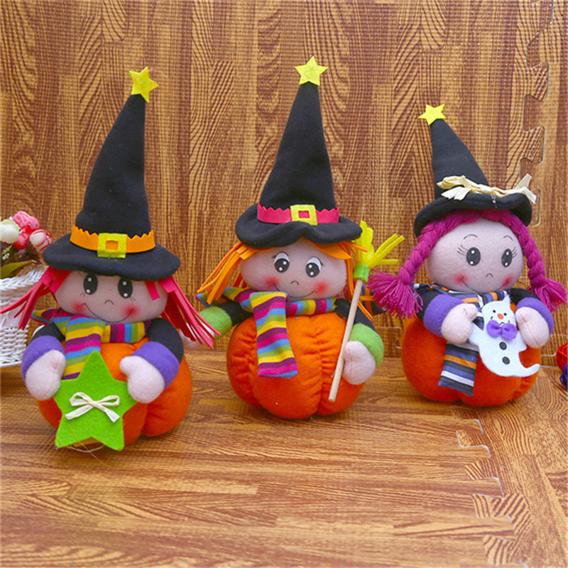 New Halloween Witch Plush Stuffed Dolls Toys Broom Ghost 5-Stars Witch Cartoon Christmas Gift Cosplay Decor 3pcslot 12 x 21cm (4)