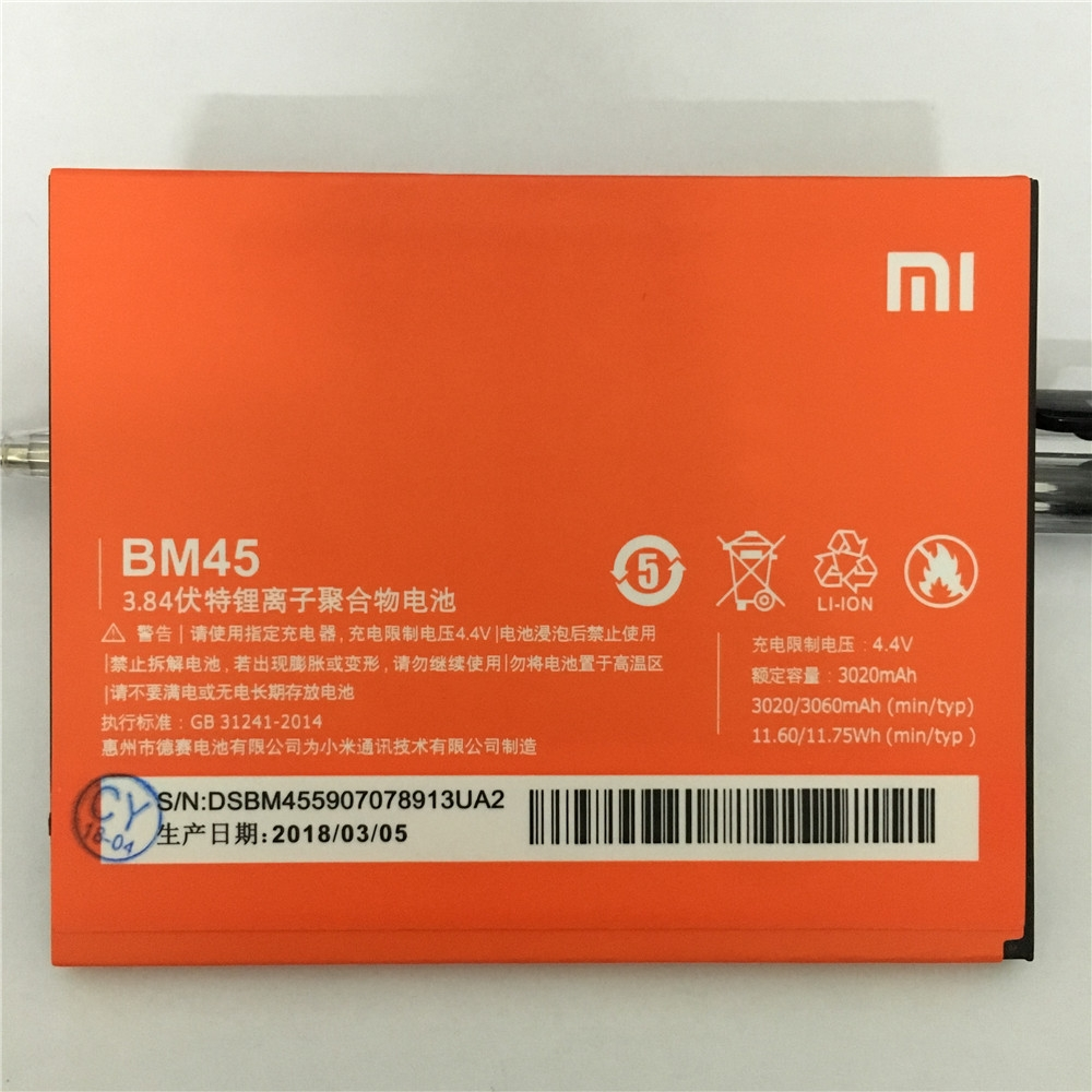 2018 NEW 100% Original BM45 Phone Battery For Xiaomi RedMi Note 2 Bateria Hongmi Real 3060mAh Mobile Replacement Battery