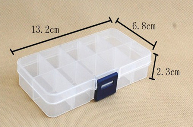300pcs Empty Plastic Storage 10 Compartment Plastic Clear Storage