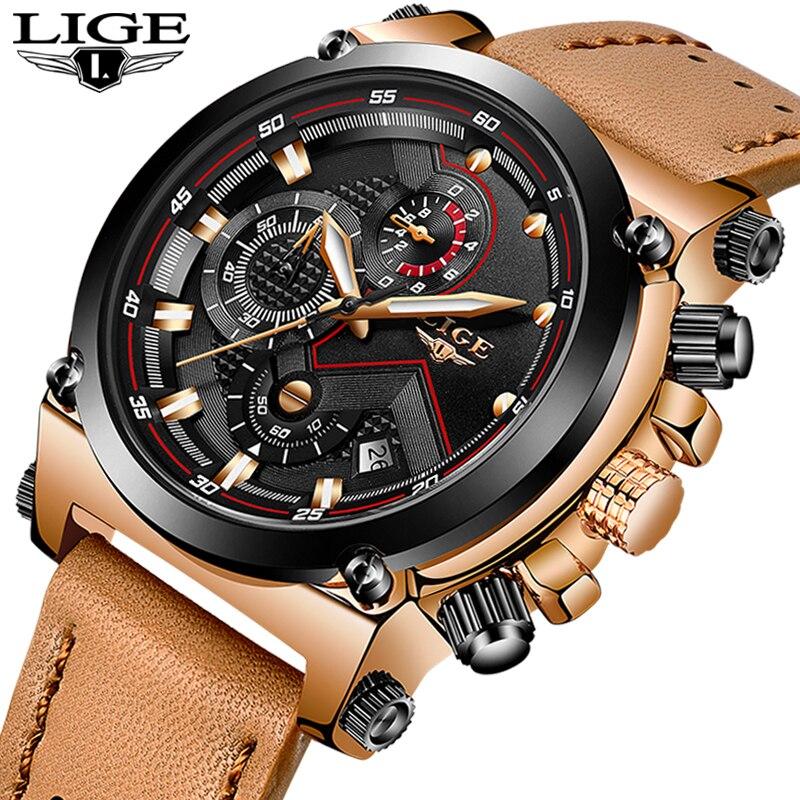 Reloj 2018 LIGE hombres reloj hombres cuero automático fecha relojes de cuarzo hombres marca de lujo impermeable deporte reloj Relogio Masculino