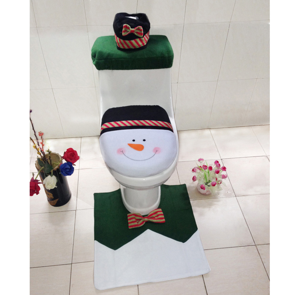 4PCS Set Snowman Toilet Seat Cover And Rug Bathroom Christmas Decor
