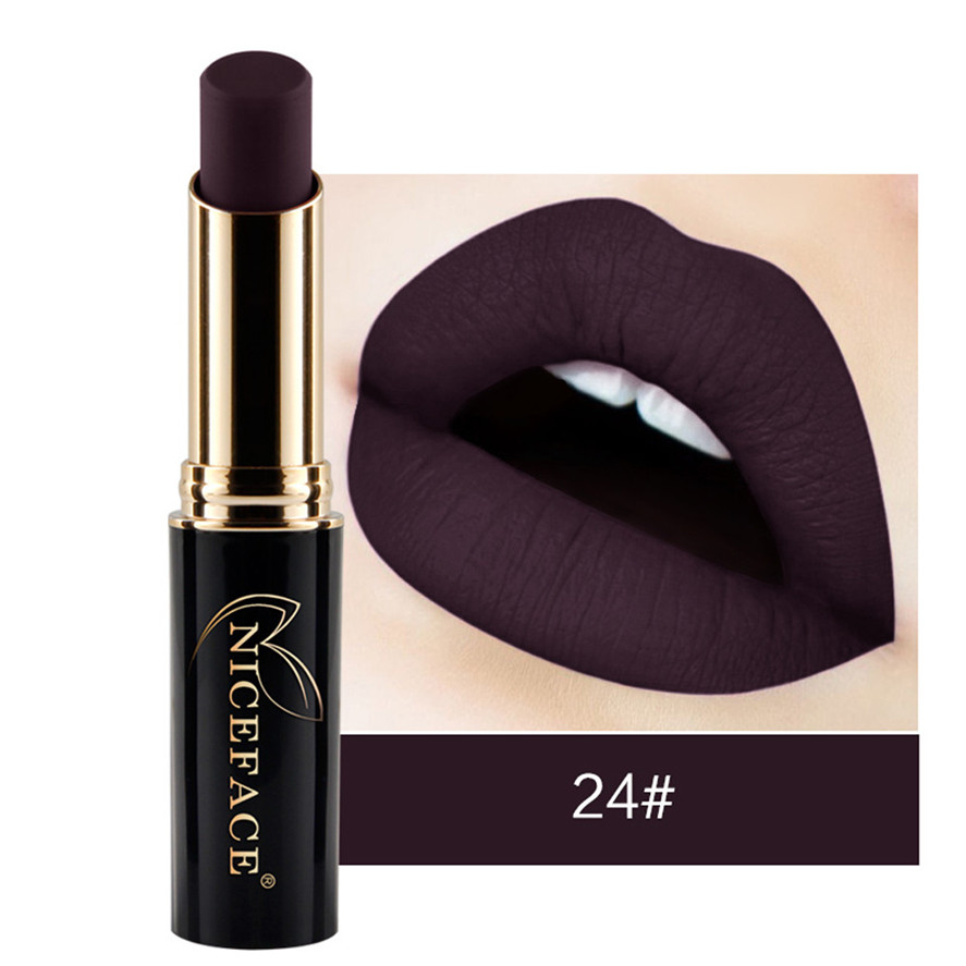 New Matte Lipstick NICEFACE 1PC Sexy Lip Stick Waterproof Matte Lipstick Lip Gloss Makeup Lipsticks Long Lasting 0109#30