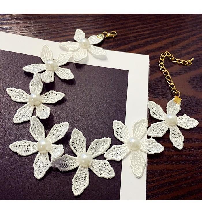 White Choker Collar Halsband Women Fashion Flower Halsband & Hängsmycken Lace Collier Bijoux Boho Smycken