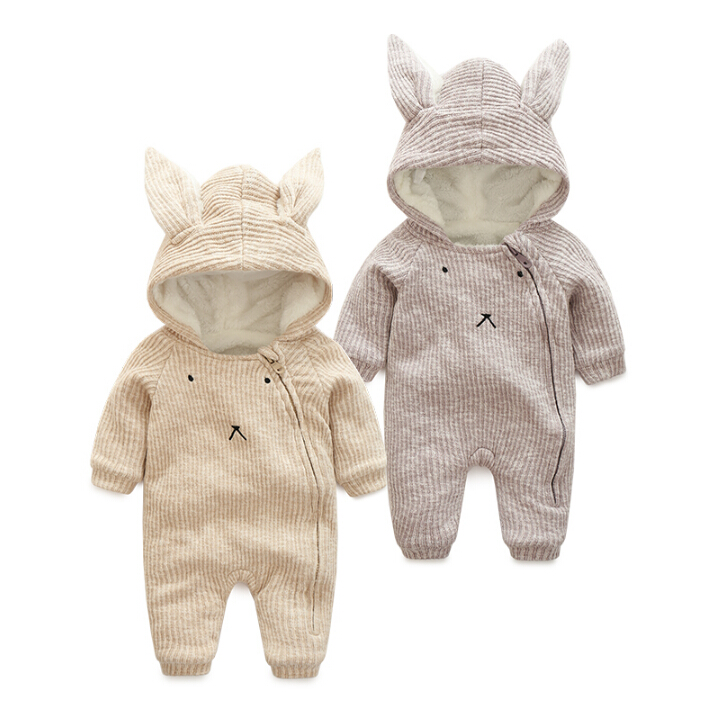 ФОТО autumn Winter  Warm Thick  Knitted Sweater Baby Rompers Coral Fleece Newborn Boys Girls Jumpsuits SnowSuit Infant Hooded Outwear