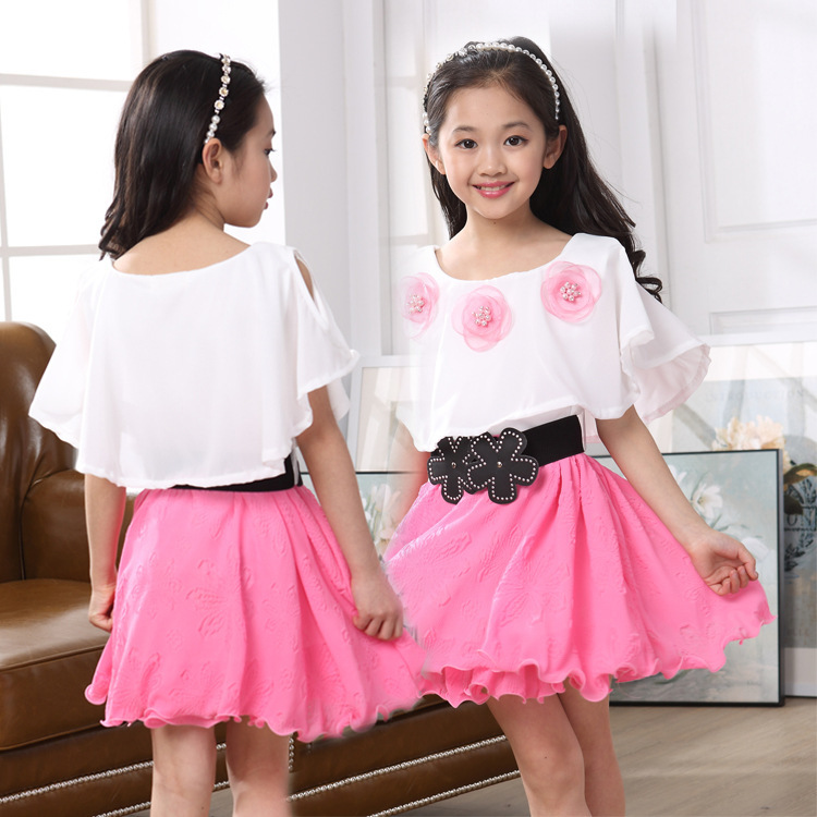 17 New Girls Summer Casual Dresses White and Pink Princess Party Dress With Black Floral Belt Kids Loose Short Ball Gown Dress 2016 summer hot girls rose golden wide belt dress children floral formal dress birthday party dress red white pink 6 size