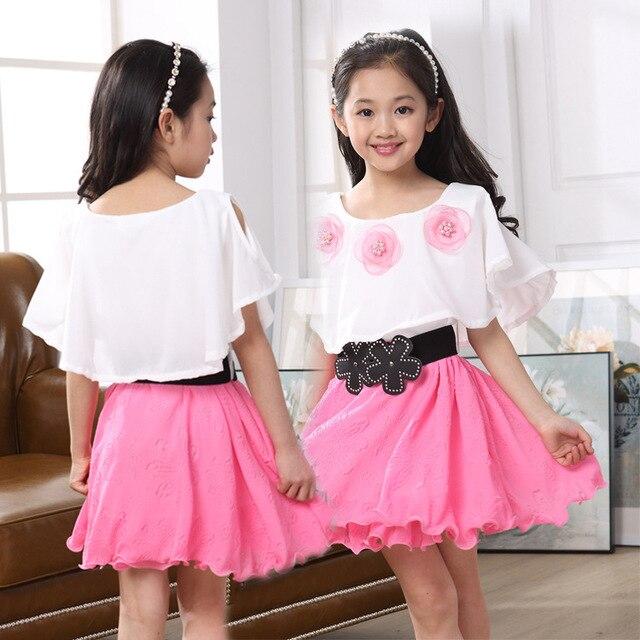 18 nuevo Niñas verano casual Vestidos blanco y rosa princesa vestido ...