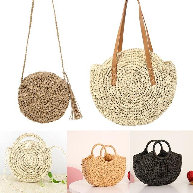 c148e58a92 2019 paille sac de plage Mini osier bandoulière épaule sacs à main pour  femmes en cuir