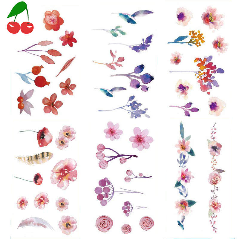 30 Tattoo waterproof lasting fresh and cute flowers leaves collarbone ankle student tattoo stickers