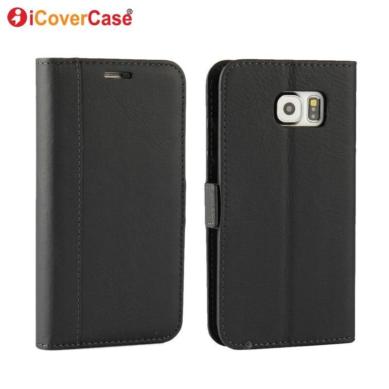 S7 S6 Edge Caso Billetera de Cuero Auténtico Cubre Bolsa Bolsa de Teléfono casos