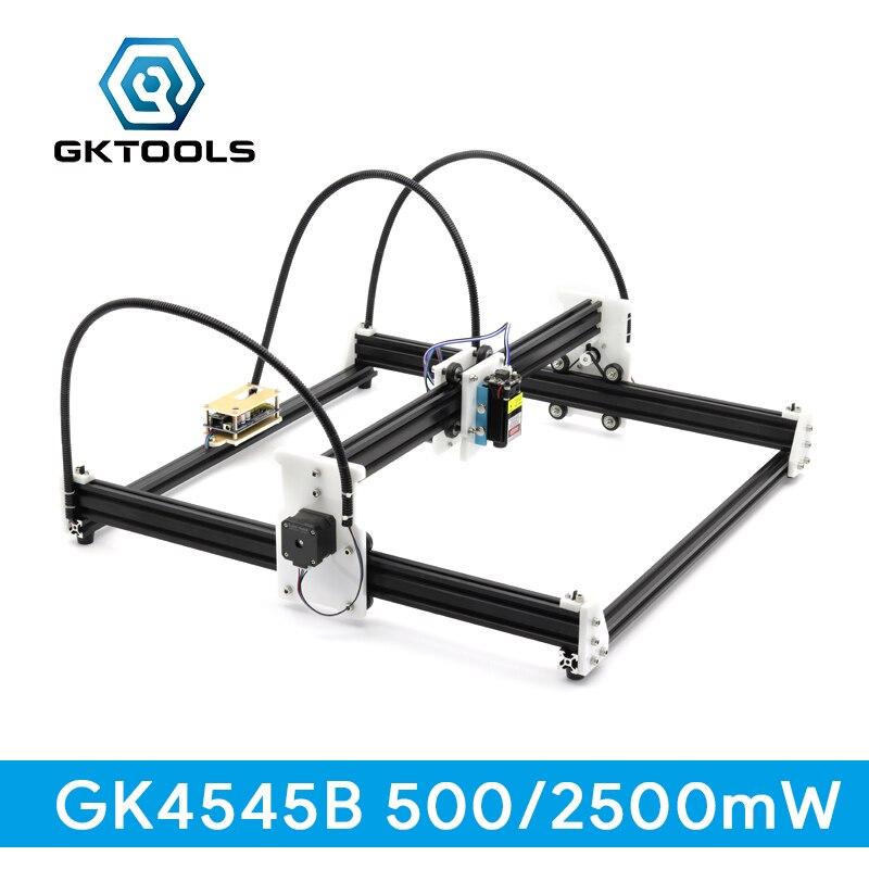 GKTOOLS 500 mW, 2500 mW DIY Bois Mini CNC Laser Graveur Cutter Machine De Gravure, 45*45 cm acrylique En Aluminium PWM, GRBL EleksMaker