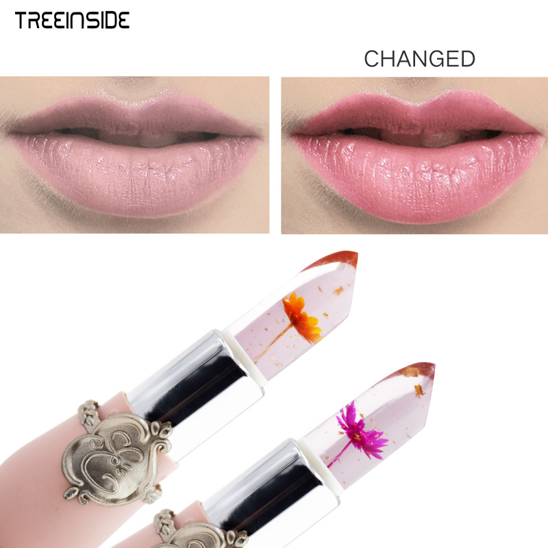 New Arrivals Waterproof Lip Stick Brand Cosmetics Long Lasting Temperature Color Change Jelly Lip Gloss with Flower 5