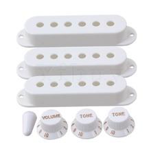 Yibuy White Guitar Parts Set Switch tip Single coil Pickup Cover 1 volume 2 Tone Knobs