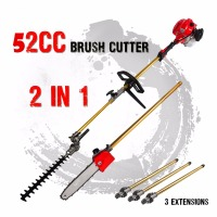 New 52cc Long Reach Pole Chainsaw Hedge Trimmer Brush Cutter Whipper Snipper Pruner Line Tree with 3 extend pole Garden Tools