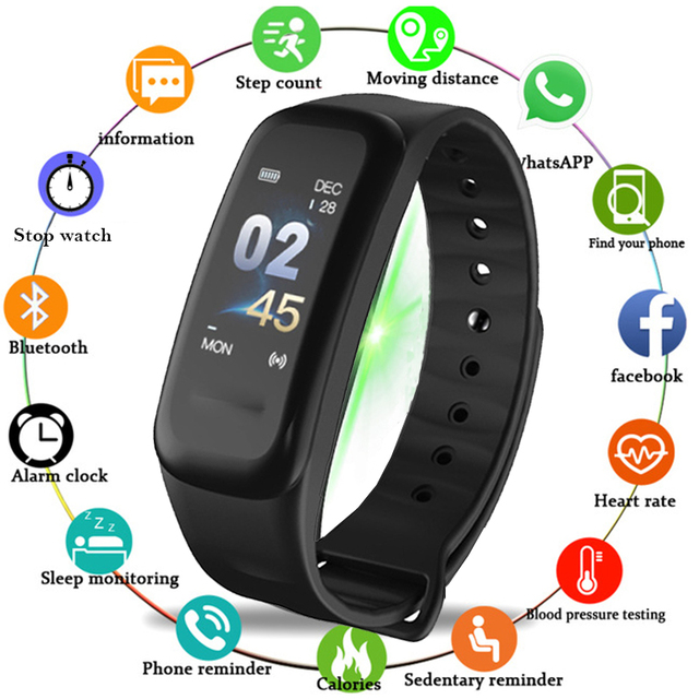 25b072fcd647 Fitness de Traker hombre elegante reloj inteligente C1 mujeres hombres  Bluetooth podómetro Monitor de ritmo cardíaco. Sitúa el cursor encima para  ...