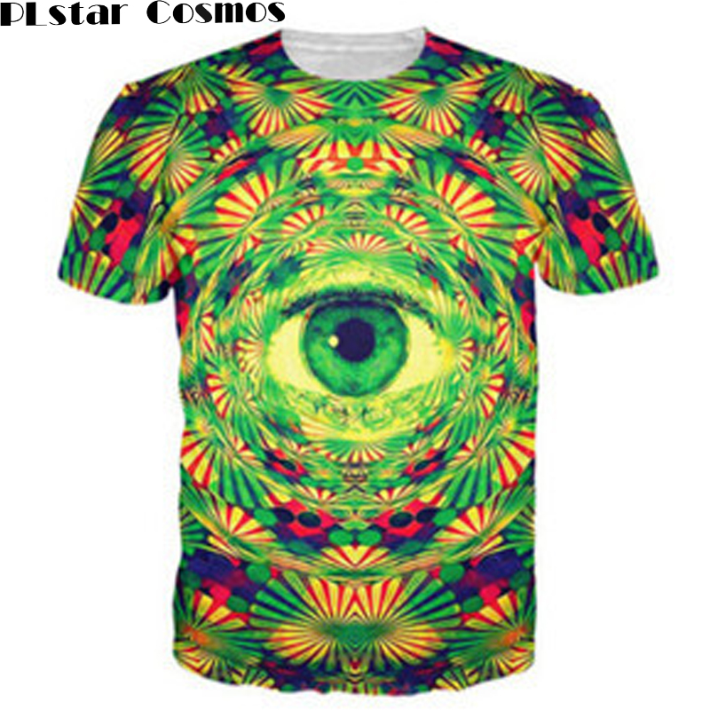 PLstar Cosmos Psychedelic Eye T-Shirt trippy pattern leads to an all-seeing eye <font><b>vibrant</b></font> <font><b>design</b></font> t shirt Women Men tees 3D Clothes