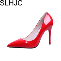 2016 Spring Autumn Fashion 10 Cm Pointed Toe High Heeled Shoes Thin Heels Patent Leather Wedding