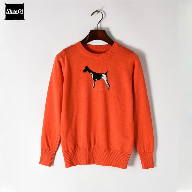 2018 New Fashion Sweater Female Pullovers Jacquard Puppy Spring Basic Slim Knitted Sweaters Pullover Runway Designer Tops Jumper