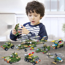 648pcs 8in1 Military WW2 Robot Helicopter Fighter Apache Attack Armor Boat Truck Tank Transformation Building Blocks Kids Toy