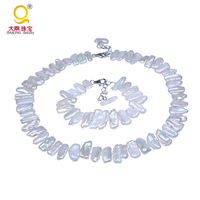 Daking REAL PEARL AAA Natural Shape White Biwa Pearl Necklace Bracelet Set (18 8 Long) Pearl for Ladies Gift