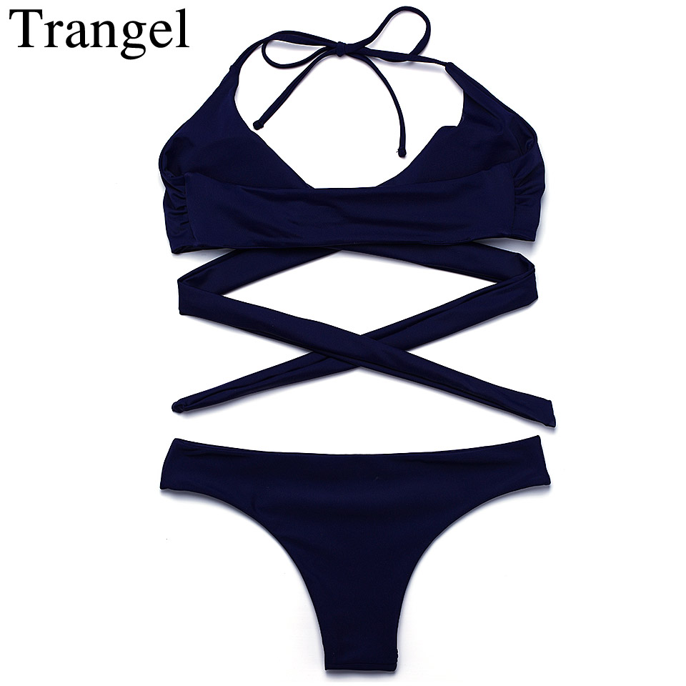 Trangel swimwear women 2017 bikini sexy swimsuit low waist bottom bikini set solid swimsuit halter bathing suits biquini sexy black halter low waist wrap bikini for women