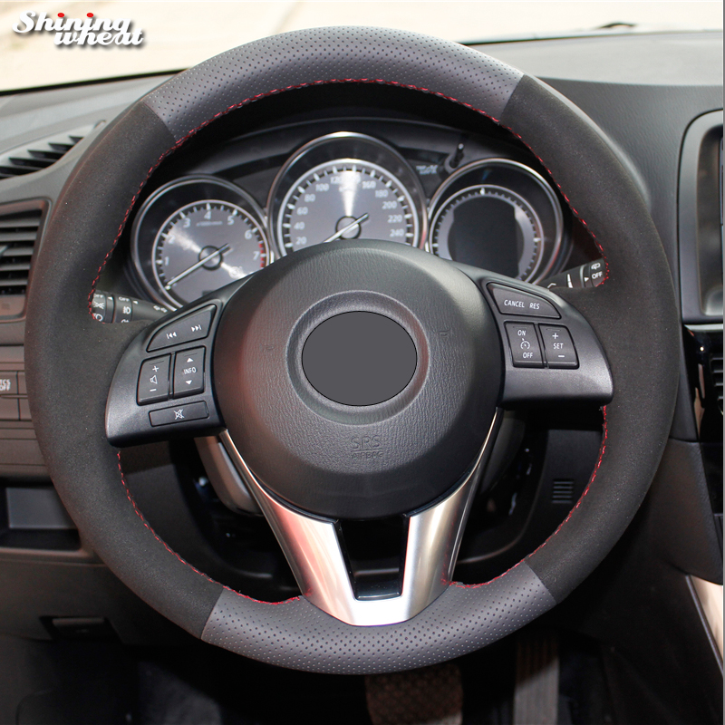 Shining wheat Black Leather Suede Steering Wheel Cover for Mazda 3 Axela 2013-2016 Mazda 6 Mazda 2 2015-2017 Atenza 2014-2017
