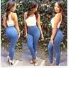 Новая Мода джинсовые Брюки Плюс Размер Тонкий Высокой Талией Вскользь Синий Женские Брюки 302A