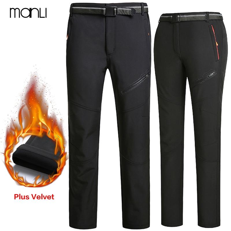 MANLI Winter Fleece hiking pants men Autumn Softshell Pants Outdoor Trousers Women Waterproof Thremal Mountain Trekking Ski Pant|Hiking Pants| |  - title=