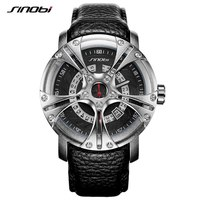 SINOBI 9760 S Shock Military Watch For Men Leather Straps Racing Wheel Sports Quartz Watches Top