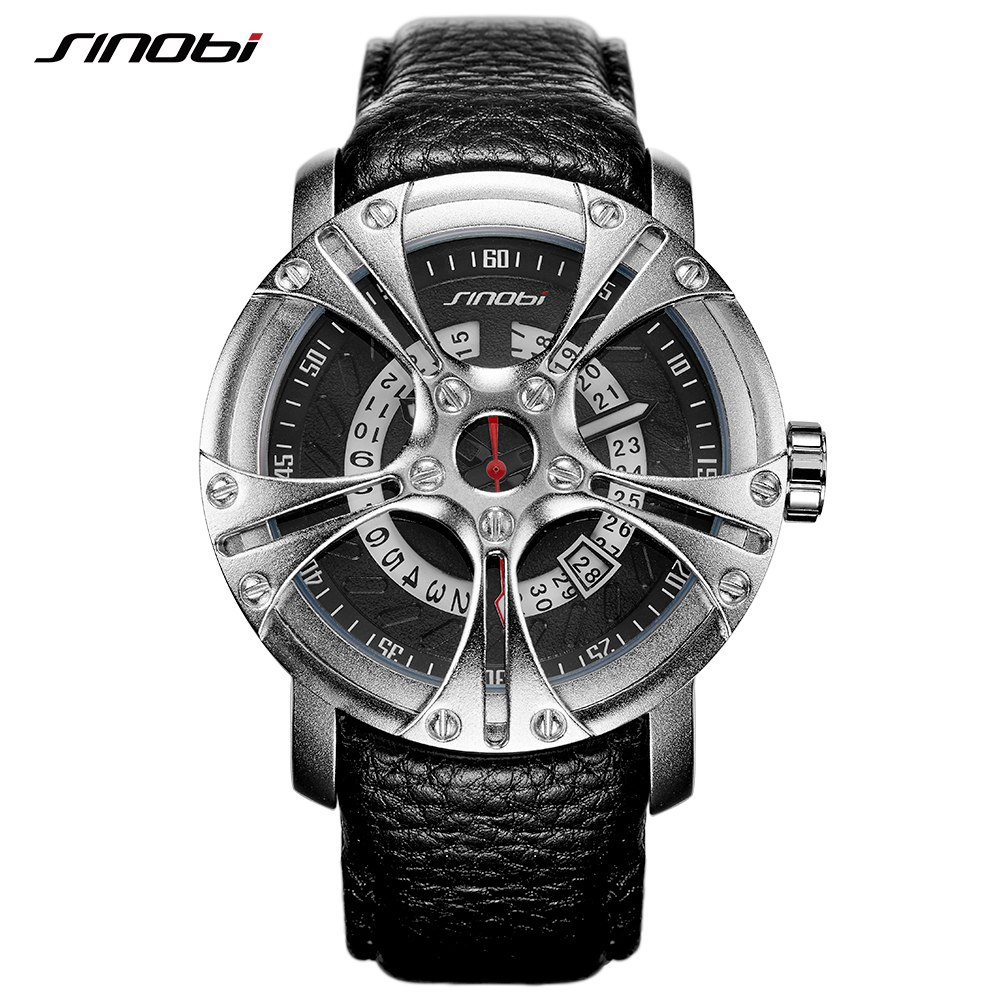 SINOBI Men Watch S Shock Military Watch Men Leather Straps Racing Wheel Sports Quartz Watches Top Brand Luxury relogio masculino
