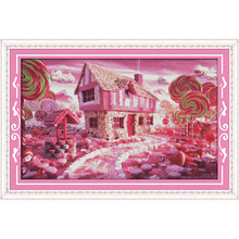 Everlasting love Fairy tale house Chinese cross stitch kits Ecological cotton printed 11 14CT DIY New year Christmas decorations