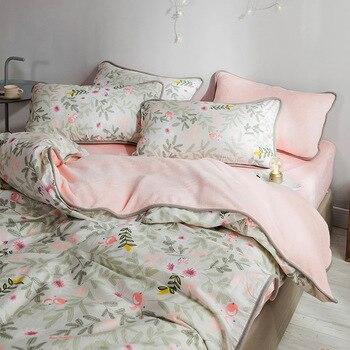 Фланелевый Комплект постельного белья с принтом, 21 цвет, чистый хлопок, для двустороннего использования, пододеяльник, Комплект постельног...