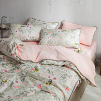 Printed edging Flannel Bedding Set 21 colors Pure cotton for double sided use Duvet Cover set Bed set skirt Twin Queen King size