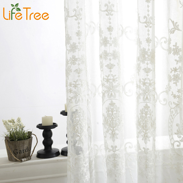 Embroidered Voile Curtains Bedroom Sheer Curtains for Living Room ...