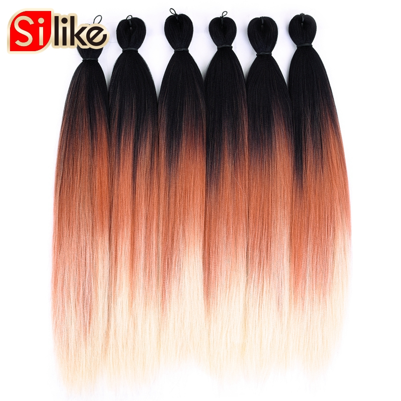 Silike Pre Feathered For Easy Braiding Jumbo Briads Hair Natural Layers 24 Inch Synthetic Lightweight Wear Hair Extensions