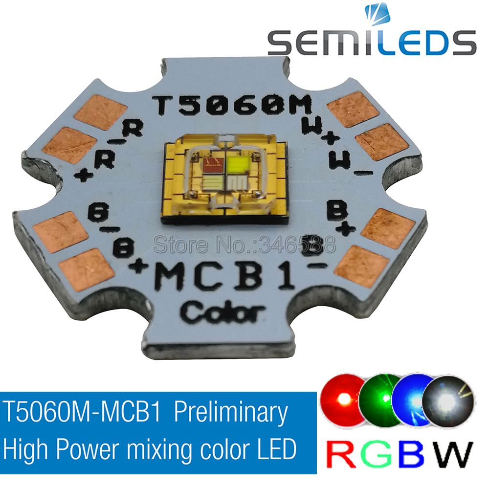 Semileds T5060M-MCB1 5060 RGBW RGB White Color Cree High Power SMD Stage Lights LED Emitter Beads 20mm PCB Red/Green/Blue/White 5 pcs cree xlamp xm l xml rgbw rgb white or rgb warm white color high power led emitter 4 chip 20mm star pcb board
