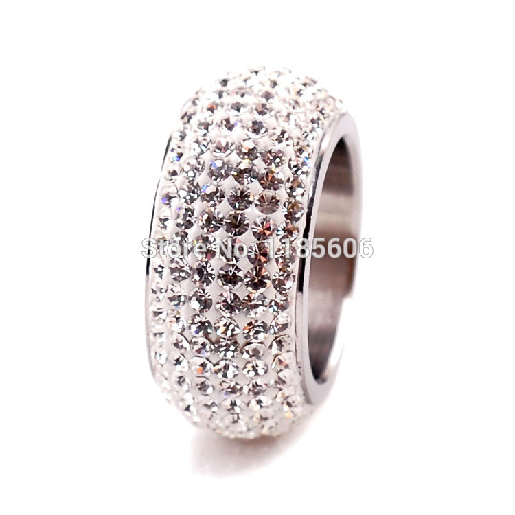 2016 New Fashion Exclusive Stainless Steel wedding Rings women & men clear Crystal charms Jewelry 6 rows - CRYSTAL BEADS store