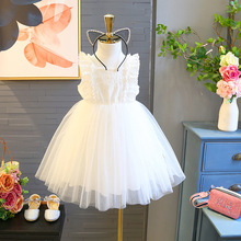 2019 summer baby girl dress  princess childrens dream fairy solid color white mesh Hollow Chiffon Slim fit thin for birthday