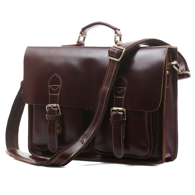 JMD Top Quality Cow Leather Classic Handbag BriefcasesShiny Office Bag Large Capacity Leather Laptop Bag For Man 7105X-2
