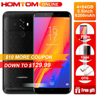 HOMTOM S99 5.5 inch 18:9 Full Display Mobile Phone Android 8.0 Octa Core 4GB RAM 64GB ROM 6200mAh Battery Face ID OTG Smartphone