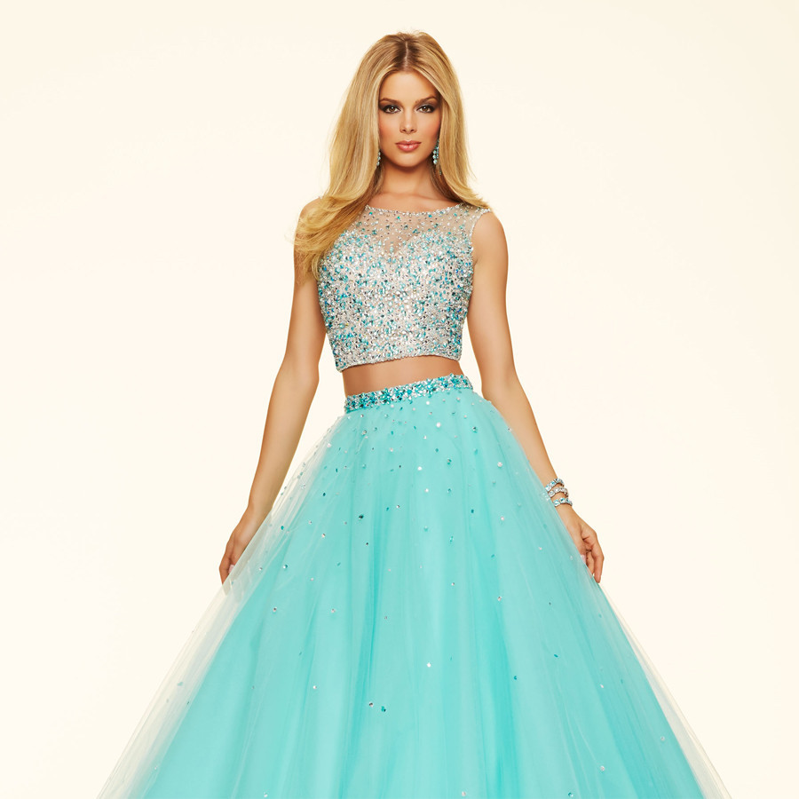 PW1400 Luxury Beading Crystal Crop Top Formal Ball Gown Prom Dress ...