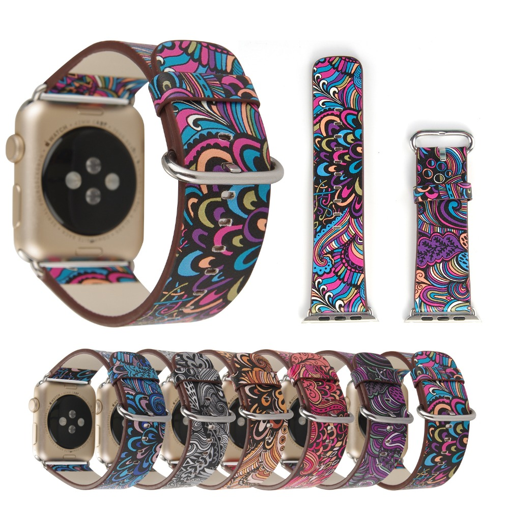 38-42mm For Apple Watch Strap Genuine Leather Painting Watch Band For Apple Watch Series 1 2 3 Watch Bracelet iWatch Watchbands genuine leather watch strap with lugs adapters for apple watch 42mm series 1 series 2 us flag