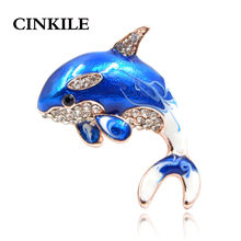 CINKILE New Arrival Enamel Cute Blue Dolphin Brooches for Women Rhinestone Inlay Winter Coat Hat Brooch Pins Fashion Jewelry(China)