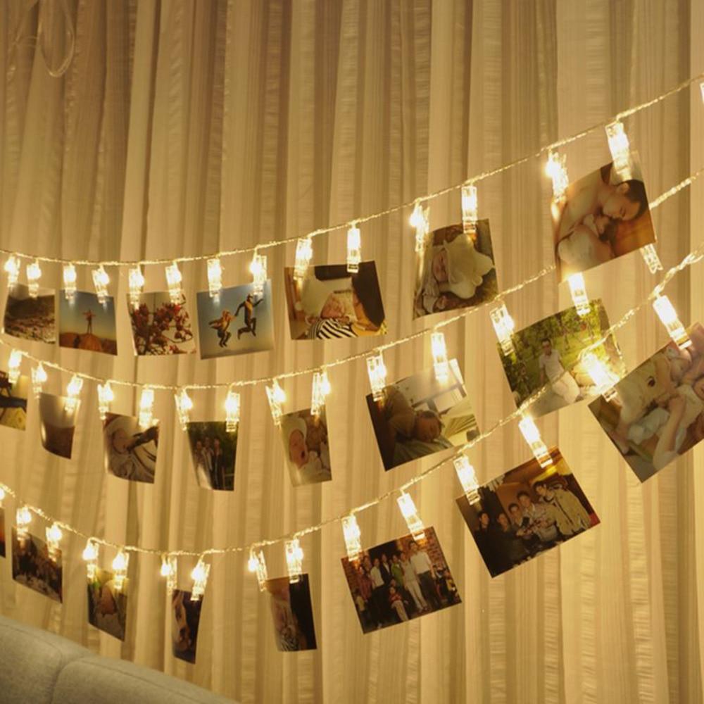 1-5m Photo Clip Led String Light Personalized Wedding Decoration Starry Photo Holder String Light Birthday Party Christmas Decor