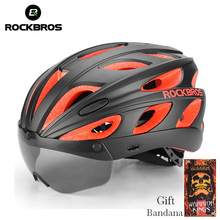 ROCKBROS Cycling Bike Helmets With Sunglasses Integrally-molded Ultralight Magnetic MTB Mountain Road Goggles Bicycle Helmets