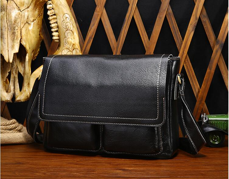 Casual fashion genuine leather man handbag male first layer of cowhide messenger bag one shoulder cross body business bag briefe wire man bag 2017 handbag male shoulder bag cross body bag commercial document bag