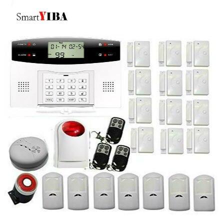 SmartYIBA Résidentiel Alarme GSM Système D'alarme de Sécurité À La Maison avec Capteur de Fumée et Flash Sirène SMS Alerte Auto Dial Cambrioleur D'alarme
