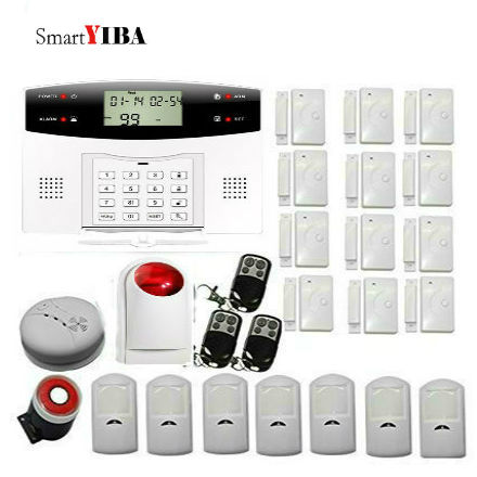 SmartYIBA Wireless House Alarm GSM Alarm Home Security System Smoke Sensor & Flash Siren SMS Alert Auto Dial Timely Arm/Disarm dhl ems free shipping 2 4g wifi gsm gprs sms wireless home house security intruder alarm system wireless flash siren