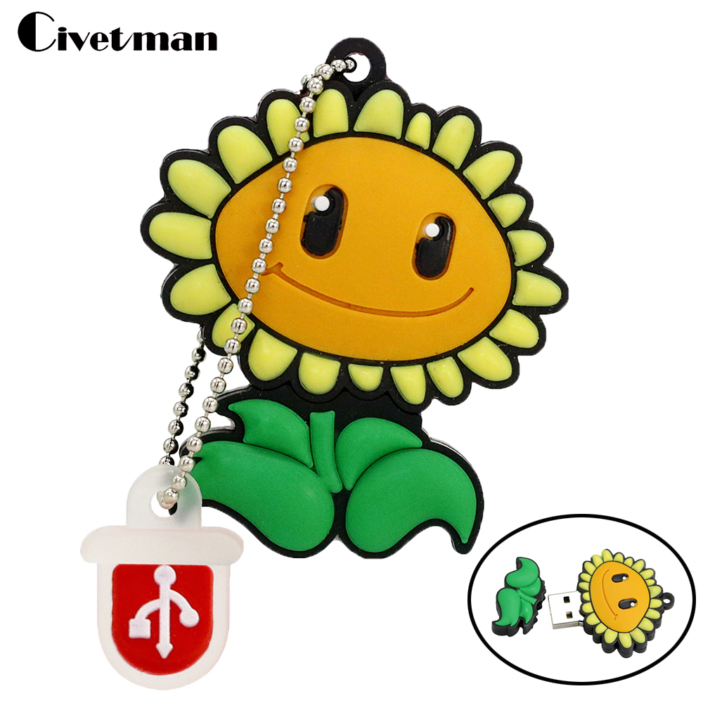 Real Capacity Pendrive Cartoon Plant Flower 4GB 8GB 16GB 32GB 64GB Sunflower USB 2.0 Flash Drive Rubber Memory Stick Cute Gifts