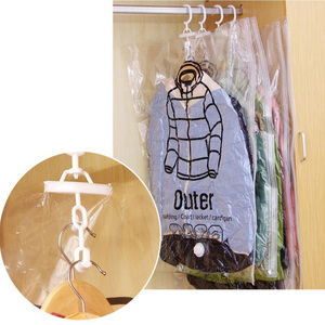 Image 4 - Can Hang Vacuum Bags For Clothes Foldable Transparent Large Medium Hanging Vacuum Storage Bag Compressed Cover For Clothes  Pump
