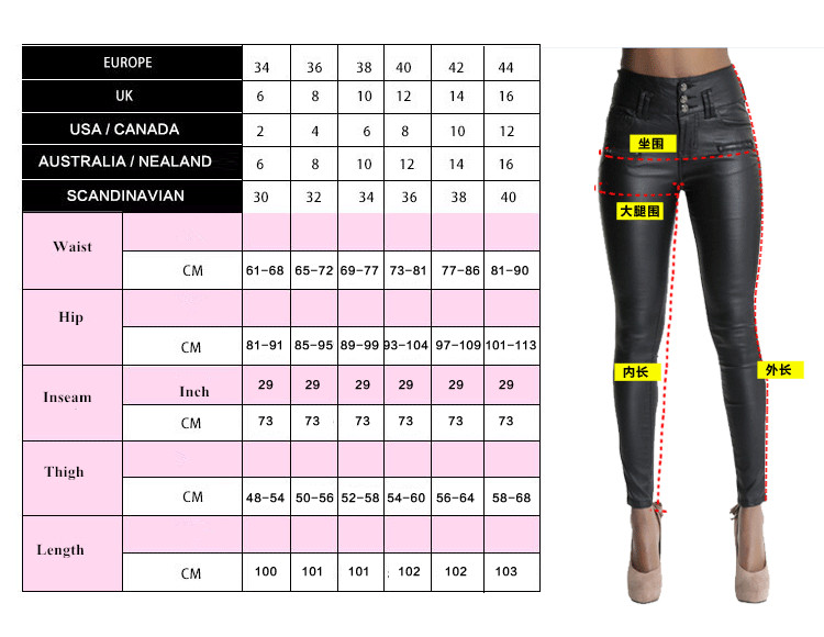 Big Plus Size PU Leather Pants Women Hip Push Up Black Sexy Female Stretch Leggings Jegging Casual Skinny Pencil Pants Jeans Women Bottom ! Plus Size Women's Clothing & Accessories
